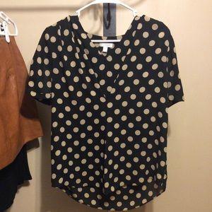Black and Tan polka dot top
